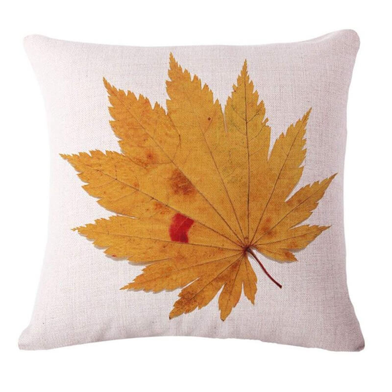 Fall Decor Linen Maple Leaf Throw Pillow C - BlingPainting