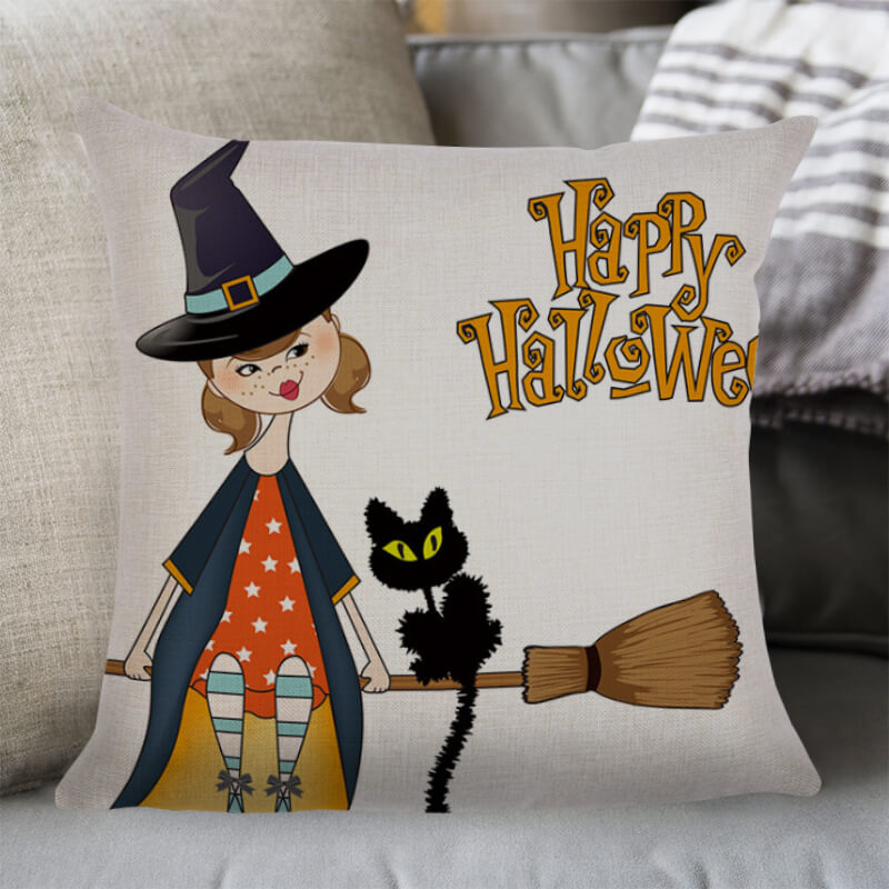 Halloween Decor Linen Witch Throw Pillow B - BlingPainting