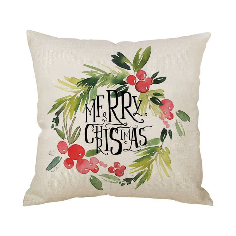 Merry Christmas Decor Linen Throw Pillow - BlingPainting