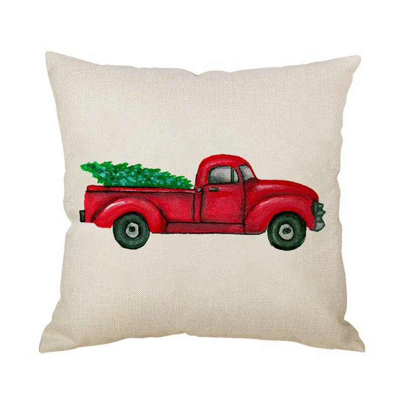 Farmhouse Christmas Decor Linen Throw Pillow - BlingPainting