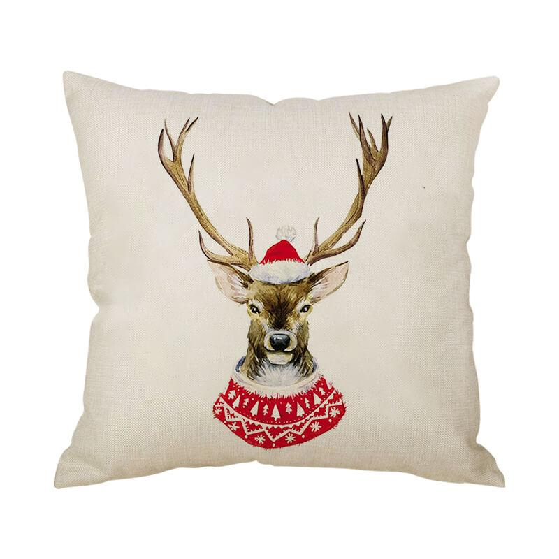 Christmas Decor Linen Reindeer Throw Pillow - BlingPainting