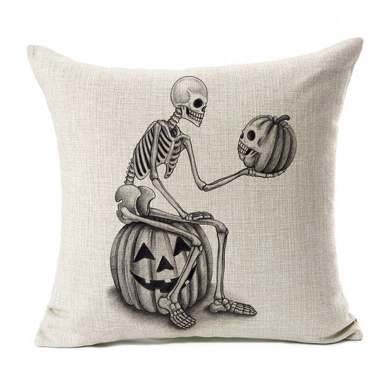 Halloween Decor Linen Skull Throw Pillow - BlingPainting