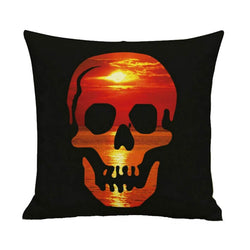 Halloween Decor Linen Skull Throw Pillow H - BlingPainting