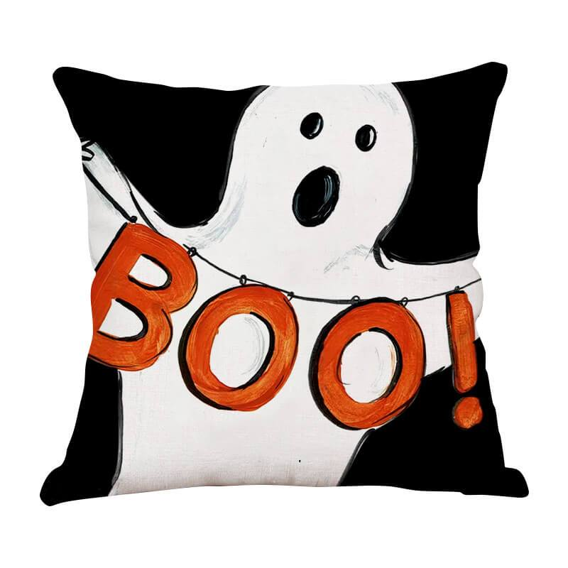 Halloween Decor Linen Ghost Throw Pillow F - BlingPainting