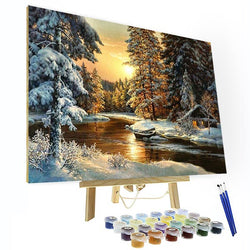 Paint by Numbers Kit - Snowy Forest Sunset - Ship from USA