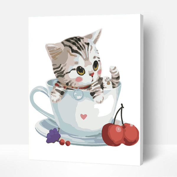 Paint by Numbers Kit for Kids - Kitten In Teacup