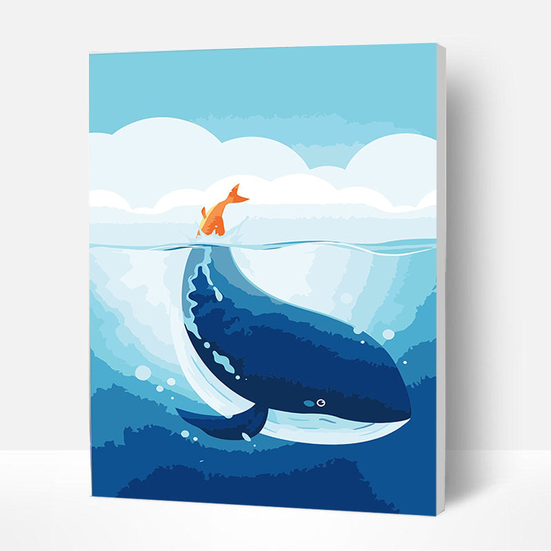 Paint by Numbers Kit for Kids - Blue Little Whale