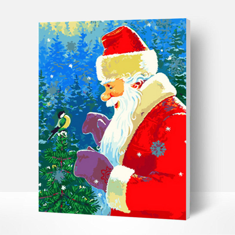 Christmas Paint by Numbers Kit - Santa Claus and Bird