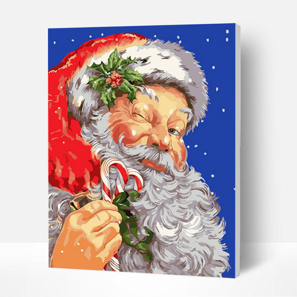 Christmas Paint by Numbers Kit - Santa Claus Squinting