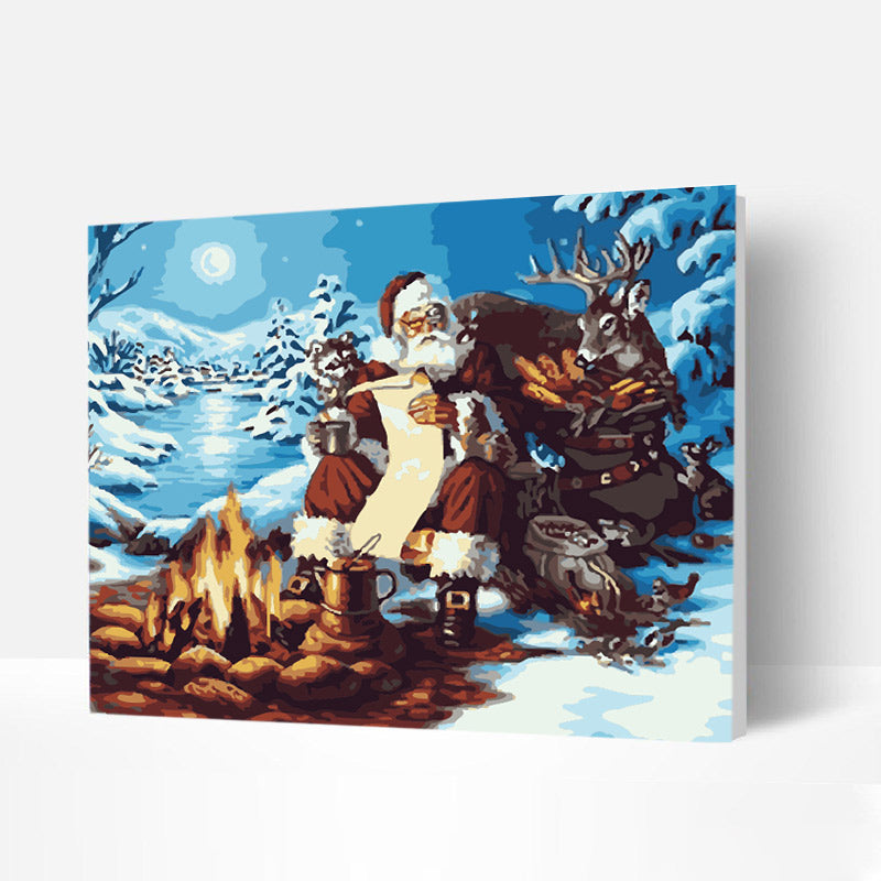 Christmas Paint by Numbers Kit - Santa Claus and Elk by the Fire
