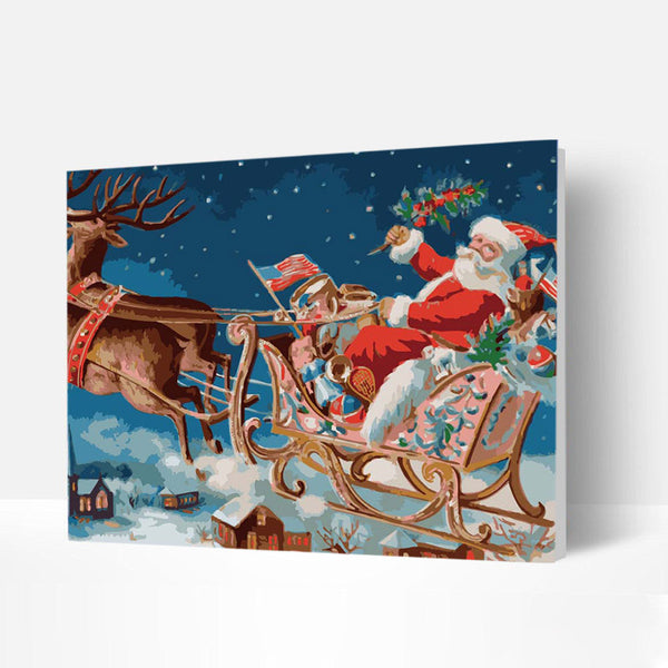 Christmas Paint by Numbers Kit - Santa Claus and Elk Sleigh