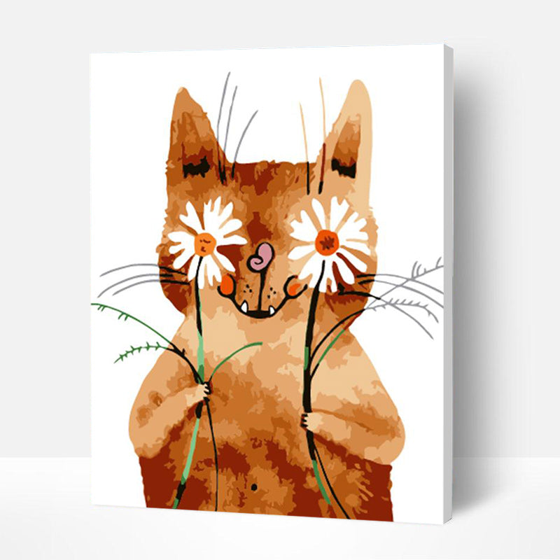 Paint by Numbers Kit for Kids - Cat Holding Flowers