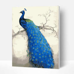 Paint by Numbers Kit - Blue peacock - BlingPainting