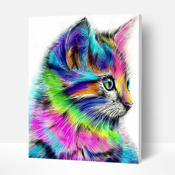 Paint by Numbers Kit -  Cute Colorful Cat - BlingPainting