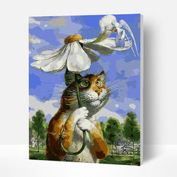 Paint by Numbers Kit - Cat Under Umbrella - BlingPainting