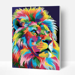 Paint by Numbers Kit - Colored lion - BlingPainting