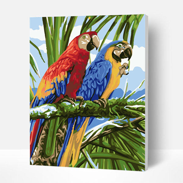 Paint by Numbers Kit - Two Parrots - BlingPainting