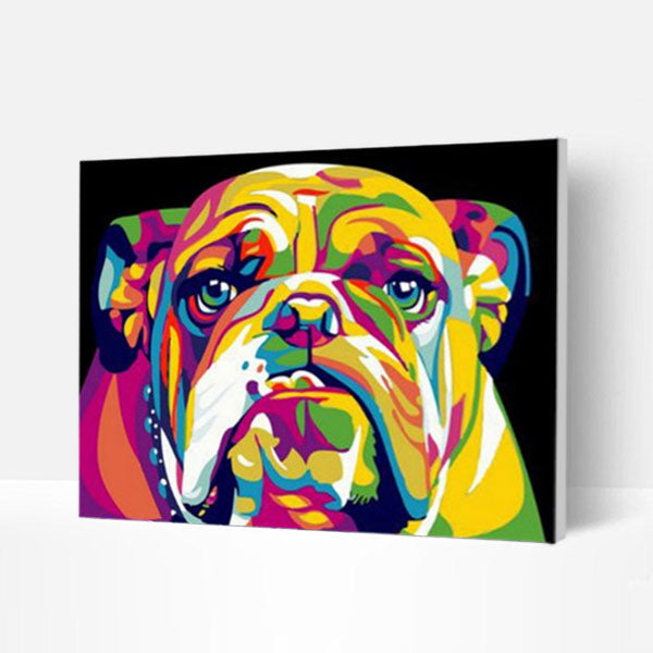 Paint by Numbers Kit -  Colorful bulldog - BlingPainting