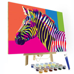 Paint by Number Kit - Colorful Zebra