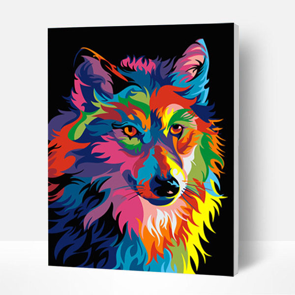 Paint by Numbers Kit -  Colorful wolf - BlingPainting