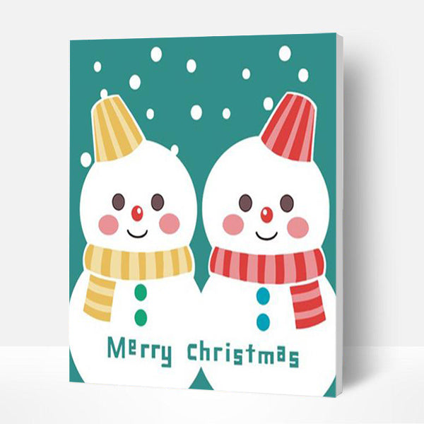 Paint by Numbers Kit for Kids-  Cute Snowman - BlingPainting