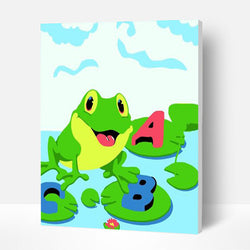 Paint by Numbers Kit for Kids- Alphabet Frog - BlingPainting