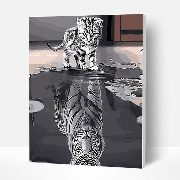 Paint by Numbers Kit - Cat and Tiger - BlingPainting