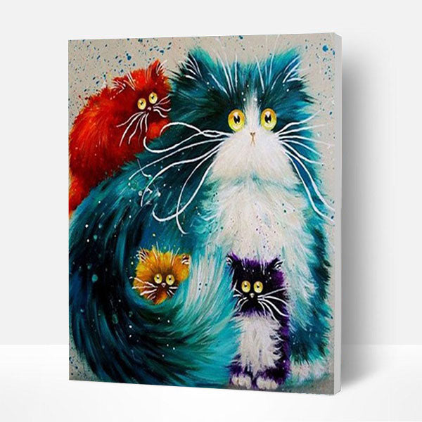 Paint by Numbers Kit - Cartoon Cats - BlingPainting