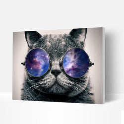 Paint by Numbers Kit - Glasses Cat - BlingPainting