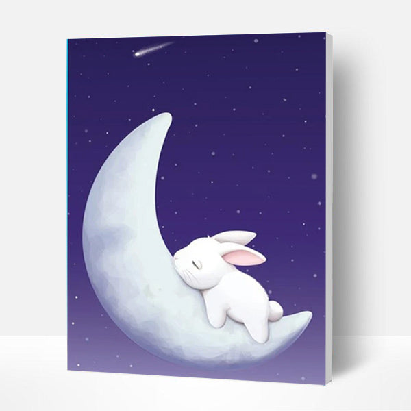 Paint by Numbers Kit for Kids-  Rabbit on the Moon - BlingPainting