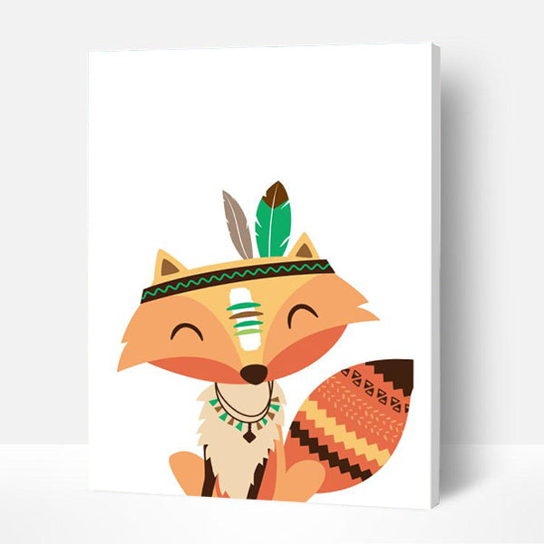 Paint by Numbers Kit for Kids-  Indian Fox - BlingPainting
