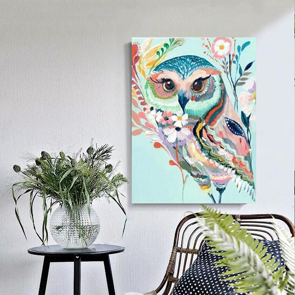 Paint by Numbers Kit - Colorful Owl - BlingPainting