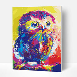 Paint by Numbers Kit -  Painted Little Owl - BlingPainting