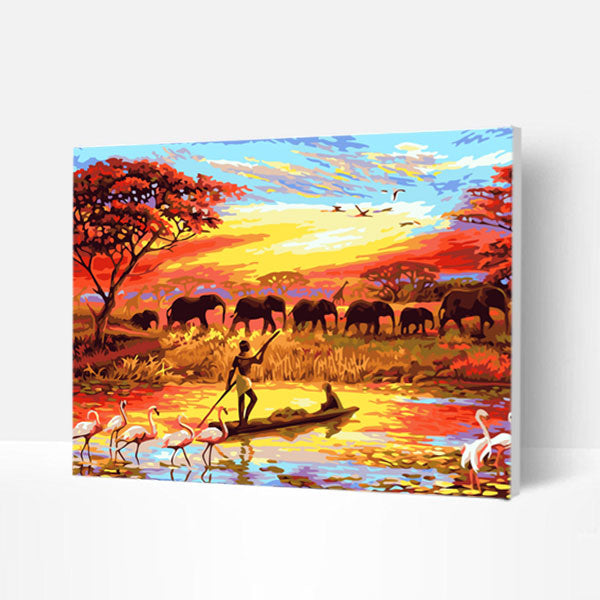 Paint by Numbers Kit -  African Elephant Sunset - BlingPainting