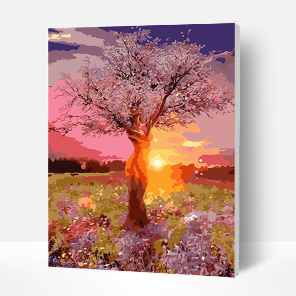 Paint by Numbers Kit -   Sunset tree - BlingPainting