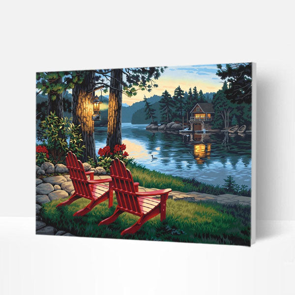 Paint by Numbers Kit - Red Chair by The Lake - BlingPainting