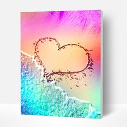 Paint by Numbers Kit - Heart in the Sand - BlingPainting