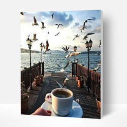Paint by Numbers Kit -   Coffee Sea View - BlingPainting