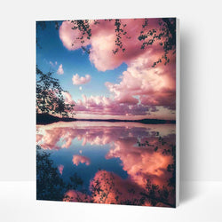 Paint by Numbers Kit - Pink Clouds in The Lake - BlingPainting