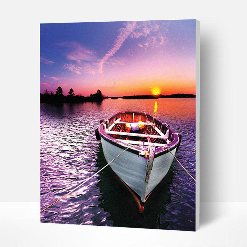 Paint by Numbers Kit -  Purple boat in the sea - BlingPainting