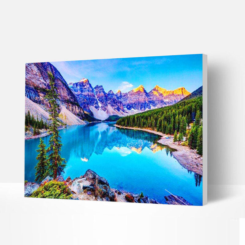 Paint by Numbers Kit -  Sunrise At Moraine Lake - BlingPainting