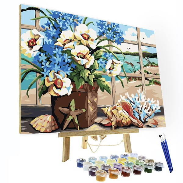 Paint by Number Kit   --Flowers facing the sea - BlingPainting