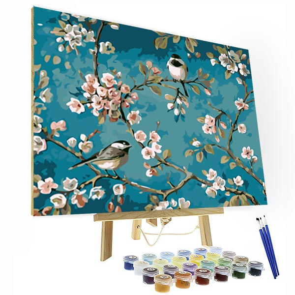 Paint by Numbers Kit -  Magpies And Flowers - BlingPainting