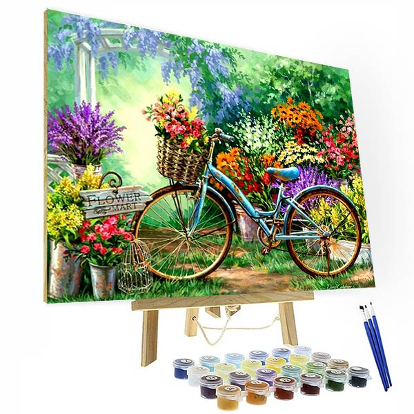 Paint by Numbers Kit - Bicycle In Garden - BlingPainting