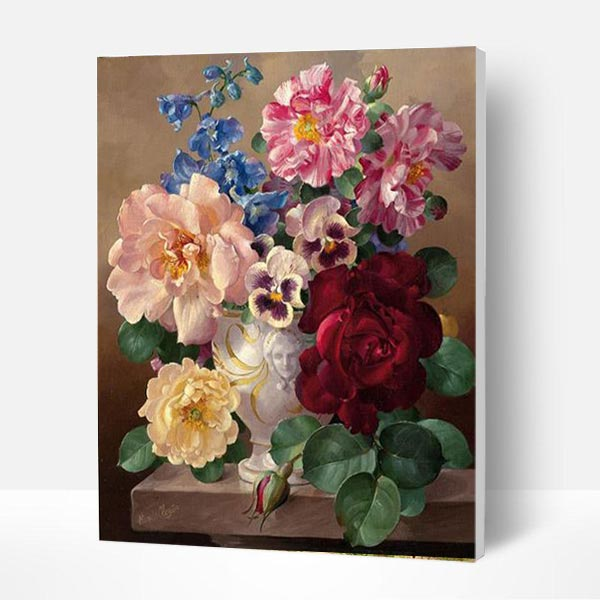 Paint by Numbers Kit - Vintage Flowers - BlingPainting