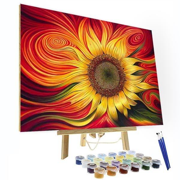 Paint by Numbers Kit - Red Sunflower - BlingPainting