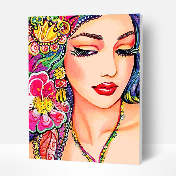 Paint by Numbers Kit - Beautiful Indian Woman - BlingPainting