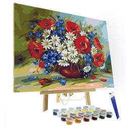 Paint by Number Kit -  A pot of colorful flowers