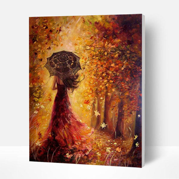 Paint by Numbers Kit - Lady In Autumn - BlingPainting