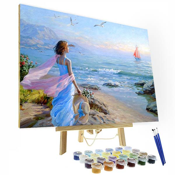 Paint by Numbers Kit -  Girl By The Sea - BlingPainting